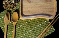Ξύλινο Chopsticks σύνολο κουταλιών Στοκ Εικόνες