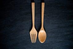 Ξύλινο Chopsticks σύνολο κουταλιών Στοκ εικόνα με δικαίωμα ελεύθερης χρήσης