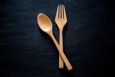 Ξύλινο Chopsticks σύνολο κουταλιών Στοκ φωτογραφίες με δικαίωμα ελεύθερης χρήσης