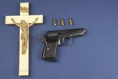 Ξύλινο crucifix με την εγγραφή INRI Στοκ Εικόνα