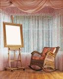 Ξύλινο easel και ψάθινη σύνθεση καρεκλών λικνίσματος Στοκ Φωτογραφία