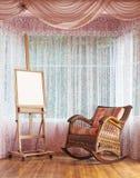Ξύλινο easel και ψάθινη σύνθεση καρεκλών λικνίσματος Στοκ φωτογραφία με δικαίωμα ελεύθερης χρήσης