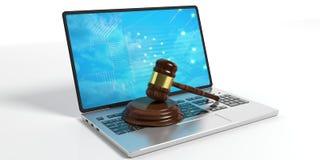 Ξύλινο gavel δικαστών ή δημοπρασίας και ένα lap-top στο άσπρο υπόβαθρο τρισδιάστατη απεικόνιση Στοκ φωτογραφία με δικαίωμα ελεύθερης χρήσης