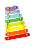 Ξύλινο xylophone παιχνιδιών που απομονώνεται στο λευκό στοκ φωτογραφίες