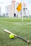 Ξύλο και σόφτμπολ ροπάλων στον τομέα χλόης Στοκ Φωτογραφία
