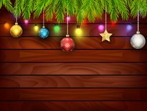 Ξύλο Planked με τη διακόσμηση Χριστουγέννων Στοκ Φωτογραφίες
