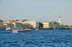 Οβελός του νησιού Vasilyevsky και του πανεπιστημιακού αναχώματος με δώδεκα Στοκ εικόνες με δικαίωμα ελεύθερης χρήσης