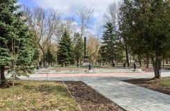 Οβελίσκος στον τάφο Vasilij Gracinskij, το οποίο ήταν το πρώτο σοβιετικό στρατιωτικό Commissar της πόλης Rzhev Στοκ εικόνες με δικαίωμα ελεύθερης χρήσης