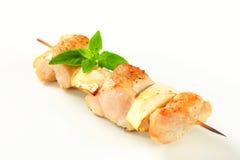 Οβελίδιο κοτόπουλου και μελιτζανών Στοκ εικόνες με δικαίωμα ελεύθερης χρήσης