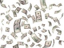 λογαριασμοί 5 δολαρίων που πετούν στο άσπρο υπόβαθρο Στοκ Εικόνες
