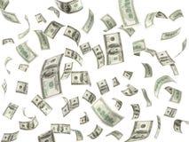 λογαριασμοί 100 δολαρίων που πετούν στο άσπρο υπόβαθρο Στοκ εικόνες με δικαίωμα ελεύθερης χρήσης