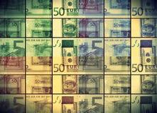 λογαριασμός τραπεζογραμματίων 50 ευρώ στο χρωματισμένο κολάζ Στοκ φωτογραφία με δικαίωμα ελεύθερης χρήσης