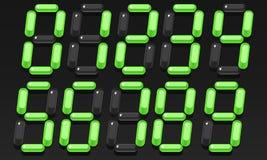 Ογκομετρικοί πράσινοι ψηφιακοί αριθμοί από 0 έως 9 ελεύθερη απεικόνιση δικαιώματος