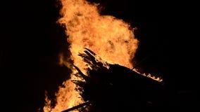 Ογκώδεις φλόγες στη φωτιά στην κρύα χειμερινή νύχτα στον αρκτικό κύκλο φιλμ μικρού μήκους
