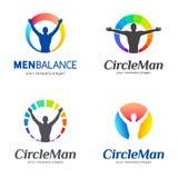 λογότυπα που τίθενται δ&iot Τα άτομα ισορροπούν, ισορροπία σωμάτων Στοκ Εικόνες