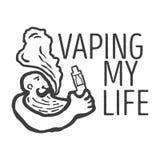 λογότυπο του προσώπου με ένα ηλεκτρονικό τσιγάρο Στοκ Φωτογραφίες