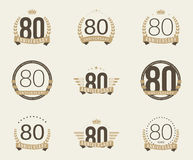 Ογδόντα έτη εορτασμού επετείου logotype 80η συλλογή λογότυπων επετείου Στοκ Εικόνα
