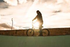 Οδήγηση αγοριών και ποδήλατο άλματος bmx σε ένα πάρκο ακραίος αθλητισμός στοκ εικόνες με δικαίωμα ελεύθερης χρήσης