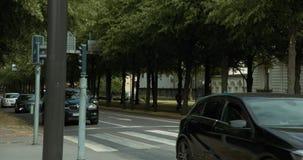 Οδήγηση αυτοκινήτων σε ένα σύνολο λεωφόρων του Γκέτεμπουργκ των δέντρων φιλμ μικρού μήκους