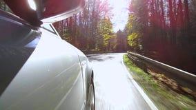 Οδήγηση αυτοκινήτων σε μια οδό το φθινόπωρο απόθεμα βίντεο