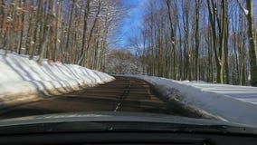 Οδήγηση ενός αυτοκινήτου, χιονώδες τοπίο απόθεμα βίντεο