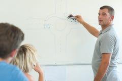 Οδήγηση θεωρίας διδασκαλίας ατόμων γύρω από τη διασταύρωση κυκλικής κυκλοφορίας Στοκ εικόνες με δικαίωμα ελεύθερης χρήσης