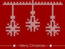Οδηγία διαγώνιος-ραψίματος με τις διακοσμήσεις για τα Χριστούγεννα διανυσματική απεικόνιση