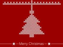 Οδηγία διαγώνιος-ραψίματος με το δέντρο για τα Χριστούγεννα διανυσματική απεικόνιση