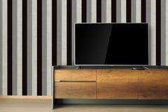 Οδηγημένη TV στη στάση TV στο κενό δωμάτιο με το εκλεκτής ποιότητας γραπτό wa στοκ εικόνες με δικαίωμα ελεύθερης χρήσης