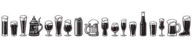 Οδηγός γυαλικών μπύρας Διάφοροι τύποι γυαλιών μπύρας E διανυσματική απεικόνιση