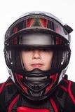 Οδηγός ραλιών ή ποδηλάτων Το αγόρι στο κοστούμι του δρομέα που απομονώνεται στο άσπρο υπόβαθρο Στοκ εικόνα με δικαίωμα ελεύθερης χρήσης