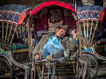 Οδηγός Rickshwa ύπνου Στοκ Φωτογραφία