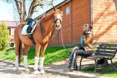Οδηγώντας εκπαιδευτής γυναικών κοντά στο άλογο κάστανων που μιλά στο τηλέφωνο κυττάρων Στοκ Εικόνα