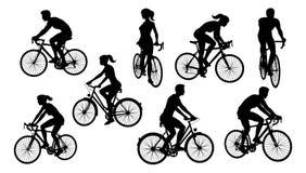 Οδηγώντας σκιαγραφίες ποδηλατών ποδηλάτων ποδηλάτων καθορισμένες ελεύθερη απεικόνιση δικαιώματος