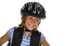οδηγώντας σχολείο κοριτσιών ποδηλάτων Στοκ Φωτογραφίες