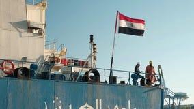 Οδησσός, στις 20 Οκτωβρίου 2018, Ουκρανία Η τον εργασία του πληρώματος του αιγυπτιακού σκάφους κατά ρυμούλκηση απόθεμα βίντεο