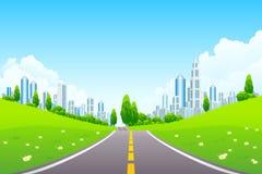 οδικά δέντρα τοπίων πόλεων ελεύθερη απεικόνιση δικαιώματος