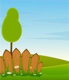 οδικά δέντρα τοπίων φραγών ελεύθερη απεικόνιση δικαιώματος