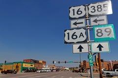 Οδικά σημάδια στο δρόμο ΑΜ Rushmore, Custer στοκ φωτογραφία