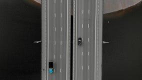 Οδική γέφυρα, εναέριο μήκος σε πόδηα από ένα copter απόθεμα βίντεο