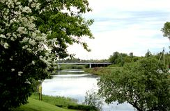 Οδική γέφυρα φύσης στην απόσταση πέρα από τον ποταμό στοκ εικόνα