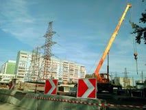 Οδική επισκευή στην οδό στην πόλη, κλειστός δρόμος για το reconstru Στοκ φωτογραφία με δικαίωμα ελεύθερης χρήσης