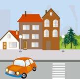 οδική οδός σπιτιών πόλεων απεικόνιση αποθεμάτων