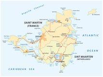 Οδικός διανυσματικός χάρτης Sint marteen-Sint Maarten ελεύθερη απεικόνιση δικαιώματος