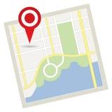 Οδικός χάρτης με την καρφίτσα Στοκ Εικόνες