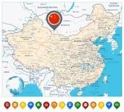 Οδικός χάρτης της Κίνας και δείκτες χαρτών ελεύθερη απεικόνιση δικαιώματος