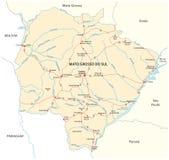 Οδικός χάρτης του βραζιλιάνου κράτους mato grosso do sul Στοκ Φωτογραφίες