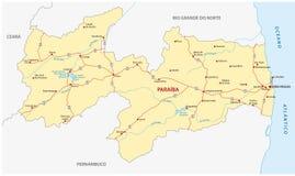 Οδικός χάρτης του βραζιλιάνου κρατικού paraiba Στοκ Εικόνες