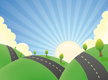 οδικό καλοκαίρι τοπίων κινούμενων σχεδίων ελεύθερη απεικόνιση δικαιώματος