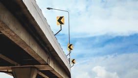 Οδικό σημάδι καμπυλών στη γέφυρα Στοκ φωτογραφίες με δικαίωμα ελεύθερης χρήσης